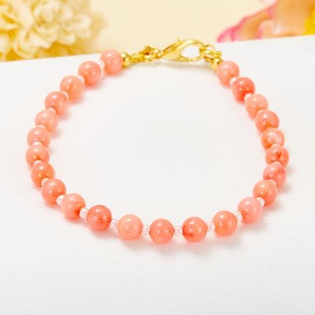 Браслет коралл розовый  5 мм 16 cм