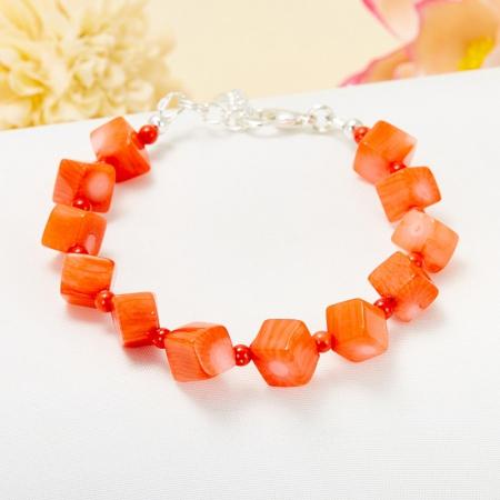 Браслет коралл оранжевый  17 cм