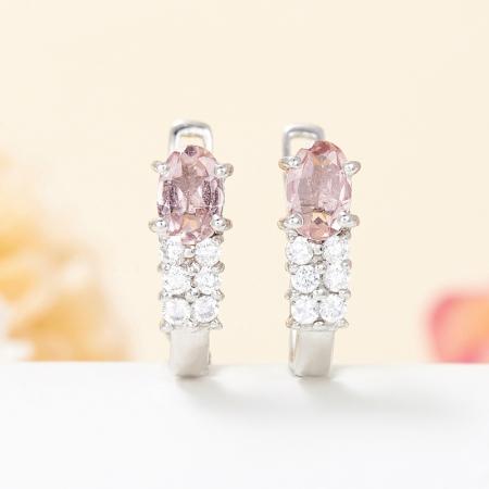 Серьги турмалин розовый  огранка (серебро 925 пр.)Турмалин<br>Серьги турмалин розовый  огранка (серебро 925 пр.)<br><br>kit: None