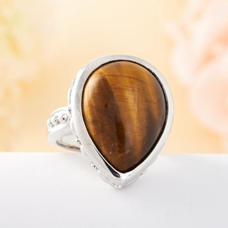 Кольцо тигровый глаз  (серебро)   размер 18