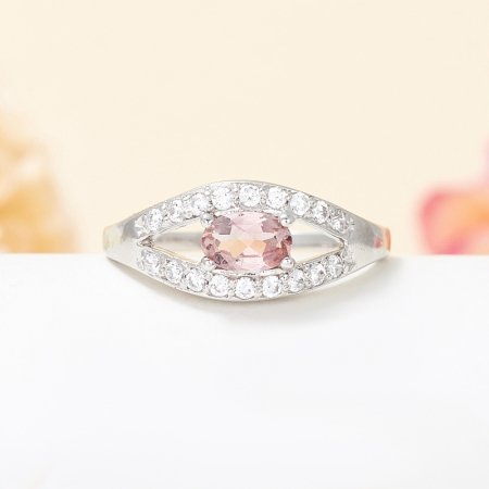 Кольцо турмалин розовый  огранка (серебро 925 пр.) размер 17,5Турмалин<br>Кольцо турмалин розовый  огранка (серебро 925 пр.) размер 17,5<br><br>kit: None