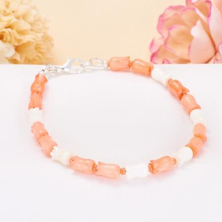 Браслет коралл белый, розовый  17 cм