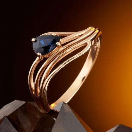Кольцо сапфир  огранка (золото 585 пр.) размер 17Сапфир<br>Кольцо сапфир  огранка (золото 585 пр.) размер 17<br><br>kit: None