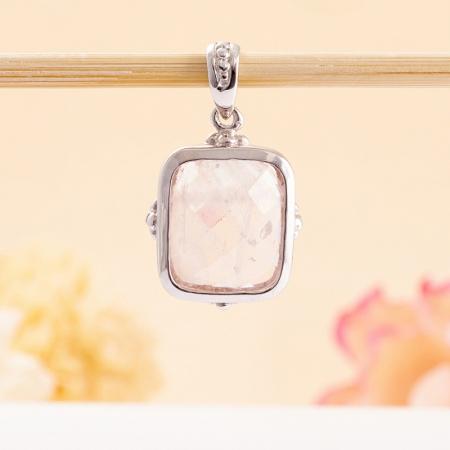 Кулон розовый кварц  (серебро 925 пр.)