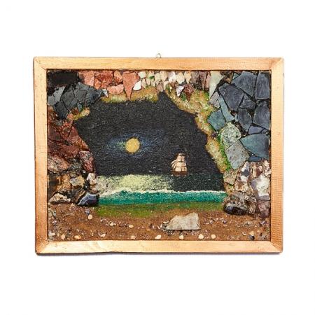 Картина из натуральных камней Море из грота ночью 34х45 смГлавная<br>Картина из натуральных камней Море из грота ночью 34х45 см<br><br>kit: None