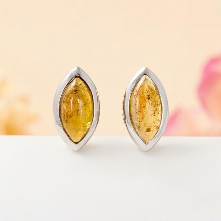 Серьги турмалин желтый  пуссеты (серебро 925 пр.)Турмалин<br>Серьги турмалин желтый  пуссеты (серебро 925 пр.)<br><br>kit: None