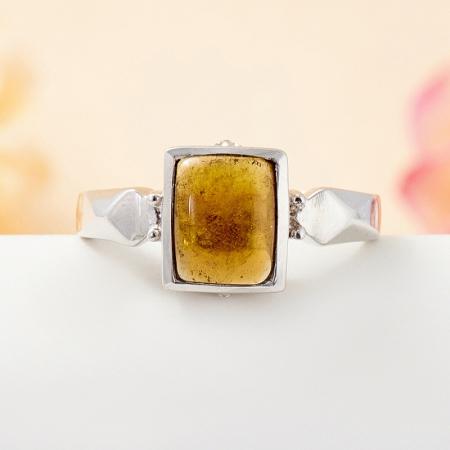 Кольцо турмалин коричневый  (серебро 925 пр.) размер 18