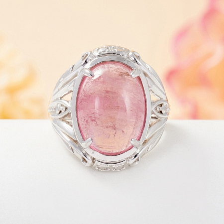 Кольцо турмалин розовый  (серебро 925 пр.) размер 17