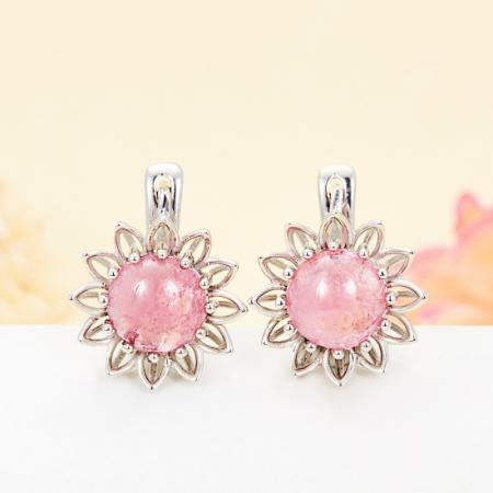 Серьги турмалин розовый  (серебро 925 пр.)Турмалин<br>Серьги турмалин розовый  (серебро 925 пр.)<br><br>kit: None