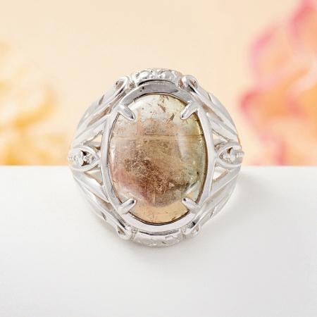 Кольцо турмалин полихромный  (серебро 925 пр.) размер 17