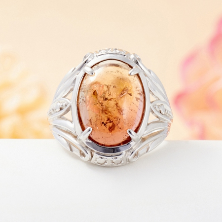 Кольцо турмалин полихромный  (серебро 925 пр.) размер 18