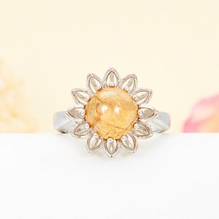 Кольцо турмалин желтый  (серебро 925 пр.) размер 16,5