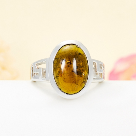 Кольцо турмалин коричневый  (серебро 925 пр.) размер 17
