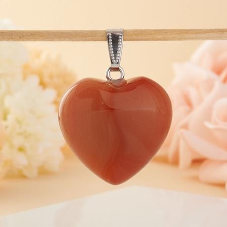 Кулон сердечко сердолик  3 см