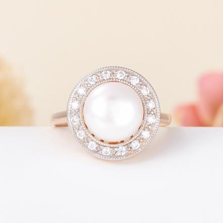 Кольцо жемчуг белый  (серебро 925 пр., позолота) размер 18
