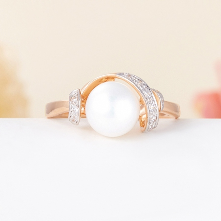 Кольцо жемчуг белый  (серебро 925 пр., позолота) размер 16