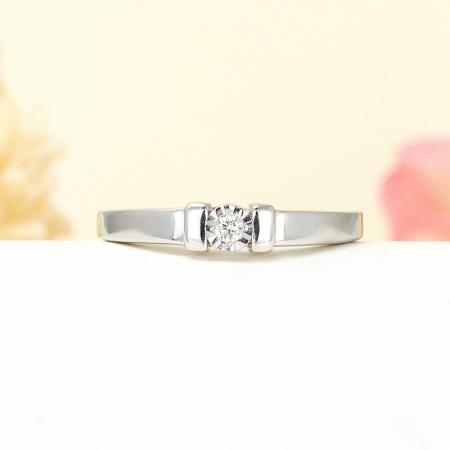 Кольцо бриллиант  огранка (серебро 925 пр.) размер 18