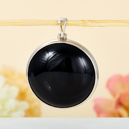 Кулон агат черный  (серебро 925 пр.)