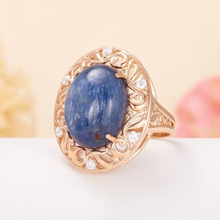 Кольцо кианит синий  (серебро 925 пр., позолота) размер 17,5
