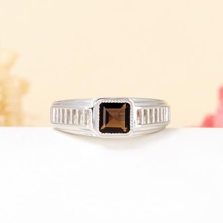 Кольцо раухтопаз  огранка (серебро 925 пр.) размер 19,5