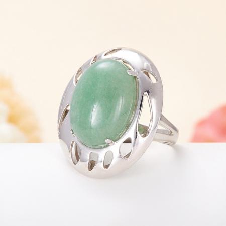 Кольцо авантюрин зеленый  (серебро 925 пр.) размер 20