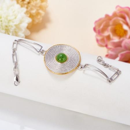 Браслет нефрит зеленый  15 cм (серебро 925 пр., позолота)