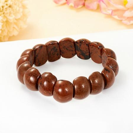 Браслет обсидиан коричневый  17 cм