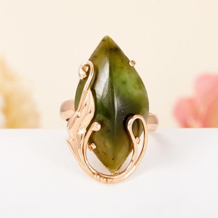 Кольцо нефрит зеленый  (серебро 925 пр., позолота) размер регулируемый