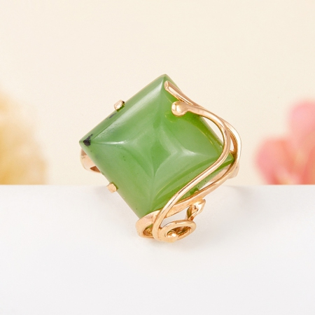 Кольцо нефрит зеленый  (серебро 925 пр., позолота) размер регулируемыйНефрит<br>Кольцо нефрит зеленый  (серебро 925 пр., позолота) размер регулируемый<br><br>kit: None