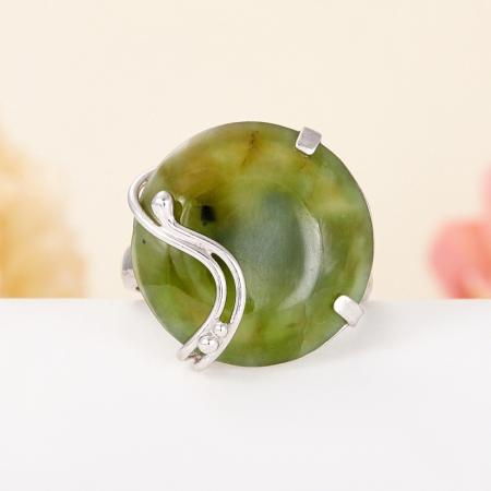 Кольцо нефрит зеленый  (серебро 925 пр.)  размер регулируемыйНефрит<br>Кольцо нефрит зеленый  (серебро 925 пр.)  размер регулируемый<br><br>kit: None