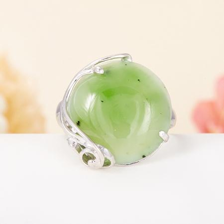 Кольцо нефрит зеленый  (серебро 925 пр.) размер регулируемый