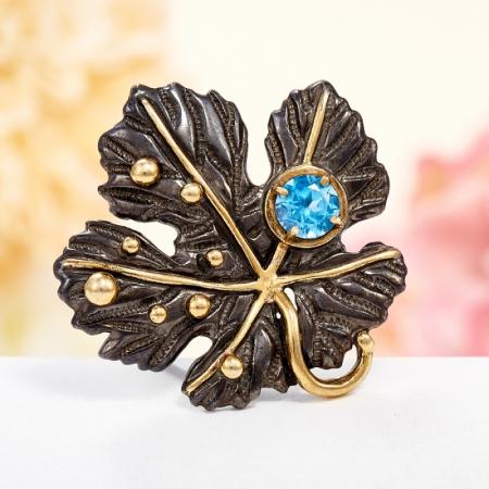 Кольцо топаз голубой  огранка (серебро 925 пр., позолота) размер 17,5