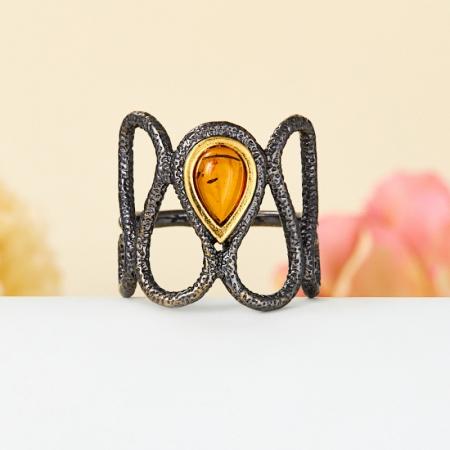 Кольцо янтарь  (серебро 925 пр., позолота) размер 19Янтарь<br>Кольцо янтарь  (серебро 925 пр., позолота) размер 19<br><br>kit: None