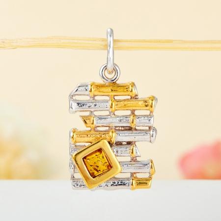 Кулон янтарь  (серебро 925 пр., позолота)Янтарь<br>Кулон янтарь  (серебро 925 пр., позолота)<br><br>kit: None