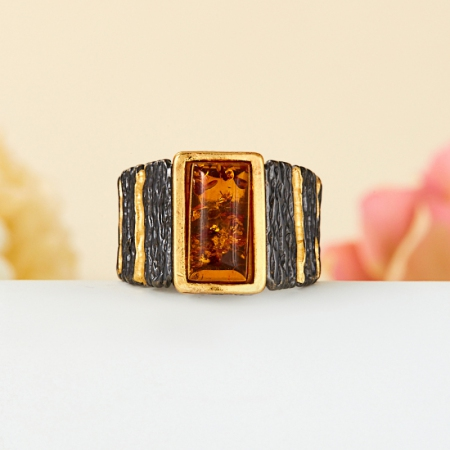 Кольцо янтарь  (серебро 925 пр., позолота) размер 17,5Янтарь<br>Кольцо янтарь  (серебро 925 пр., позолота) размер 17,5<br><br>kit: None