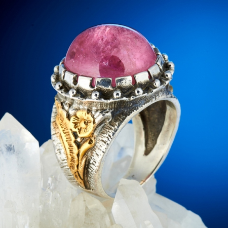 Кольцо турмалин розовый (рубеллит)  (серебро 925 пр., позолота) размер 18,5Турмалин<br>Кольцо турмалин розовый (рубеллит)  (серебро 925 пр., позолота) размер 18,5<br><br>kit: None