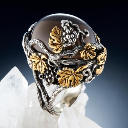 Кольцо раухтопаз  (серебро 925 пр., позолота) размер 17,5
