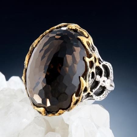 Кольцо раухтопаз  огранка (серебро 925 пр., позолота) размер 18,5