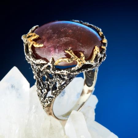 Кольцо турмалин розовый (рубеллит)  (серебро 925 пр., позолота) размер 19