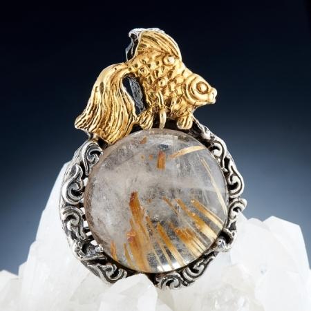 Кулон рутиловый кварц  (серебро 925 пр., позолота)
