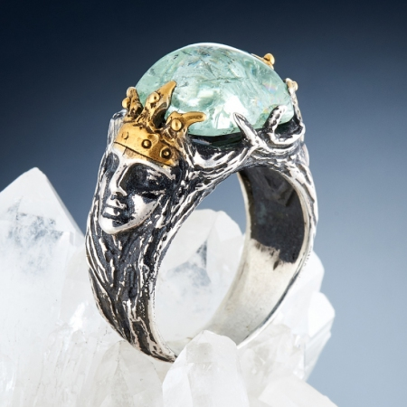 Кольцо аквамарин  (серебро 925 пр., позолота) размер 18,5