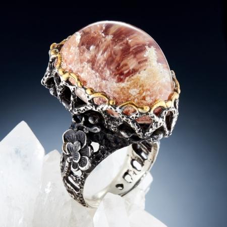 Кольцо кварц  (серебро 925 пр., позолота) размер 17,5
