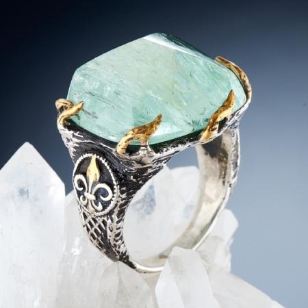 Кольцо аквамарин  (серебро 925 пр., позолота) размер 19