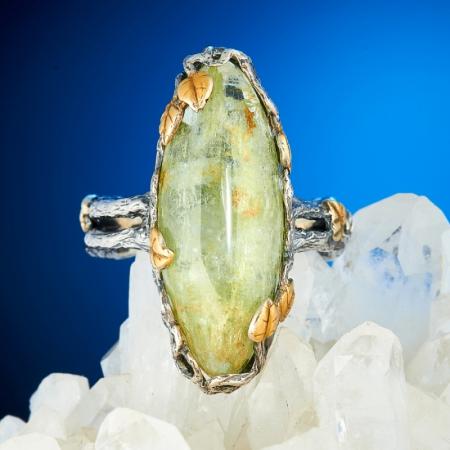 Кольцо аквамарин  (серебро 925 пр., позолота) размер 18Аквамарин<br>Кольцо аквамарин  (серебро 925 пр., позолота) размер 18<br><br>kit: None