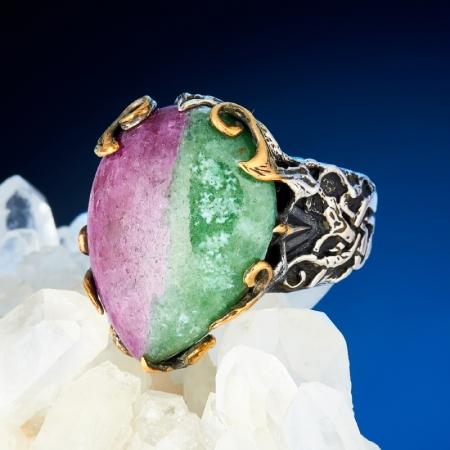 Кольцо корунд (рубин в цоизите)  (серебро 925 пр., позолота) размер 18,5Рубин<br>Кольцо корунд (рубин в цоизите)  (серебро 925 пр., позолота) размер 18,5<br><br>kit: None