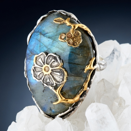 Кольцо лабрадор  (серебро 925 пр., позолота) размер 18,5