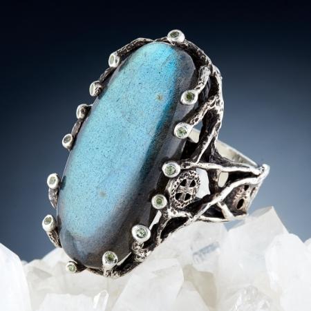 Кольцо лабрадор  (серебро 925 пр., позолота) размер 19Лабрадор<br>Кольцо лабрадор  (серебро 925 пр., позолота) размер 19<br><br>kit: None