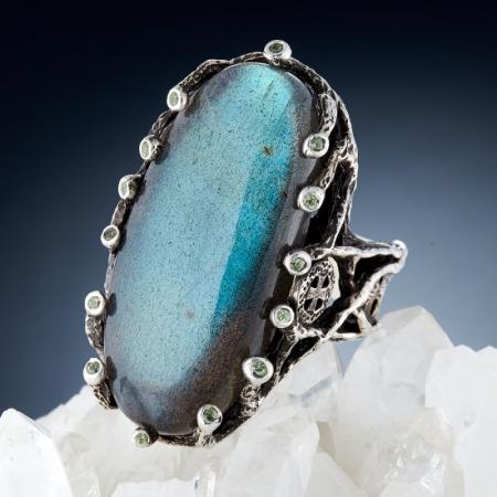 Кольцо лабрадор  (серебро 925 пр., позолота) размер 19