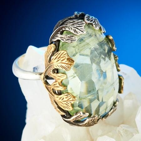Кольцо аквамарин  огранка (серебро 925 пр., позолота) размер 17,5