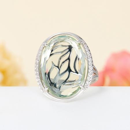 Кольцо празиолит  огранка (серебро 925 пр.) размер 17